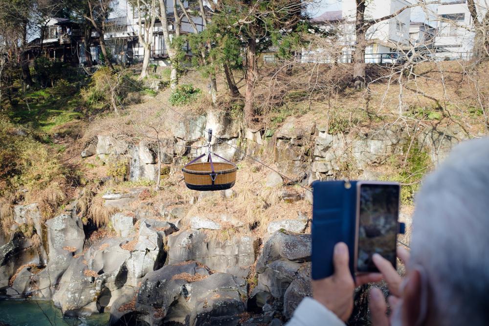 【岩手県一関市 厳美渓 レポ】川の向こうでがんばるだんご父さん